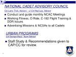 national cadet advisory council col larry trick advisor lt col ned lee advisor