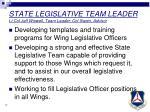 state legislative team leader lt col jeff wiswell team leader col swain advisor