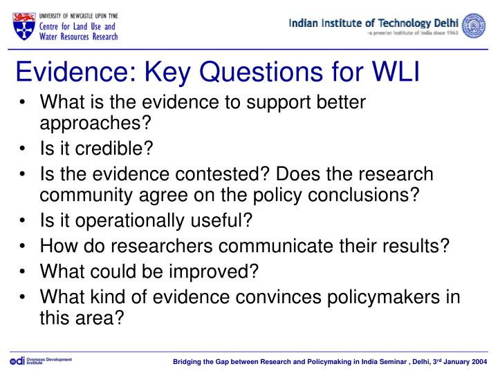 Evidence: Key Questions for WLI