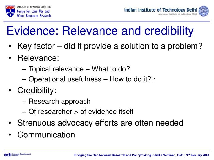 Evidence relevance and credibility