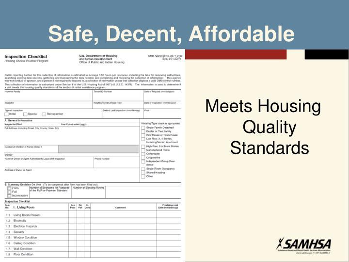 Safe, Decent, Affordable