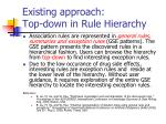 existing approach top down in rule hierarchy