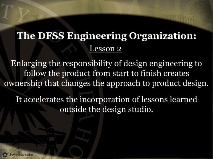 The DFSS Engineering Organization: