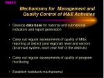 mechanisms for management and quality control of m e activities