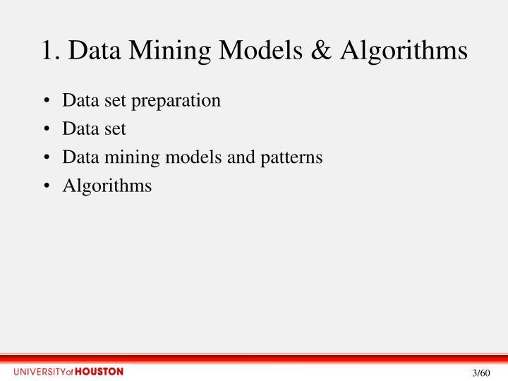 1 data mining models algorithms