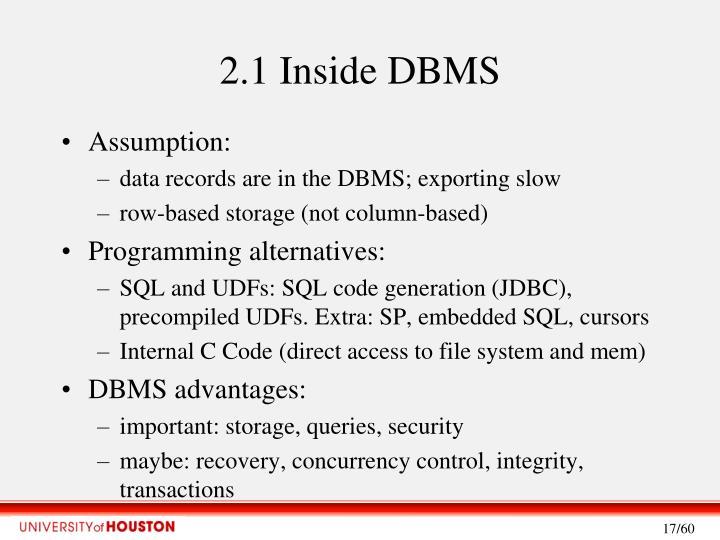 2.1 Inside DBMS