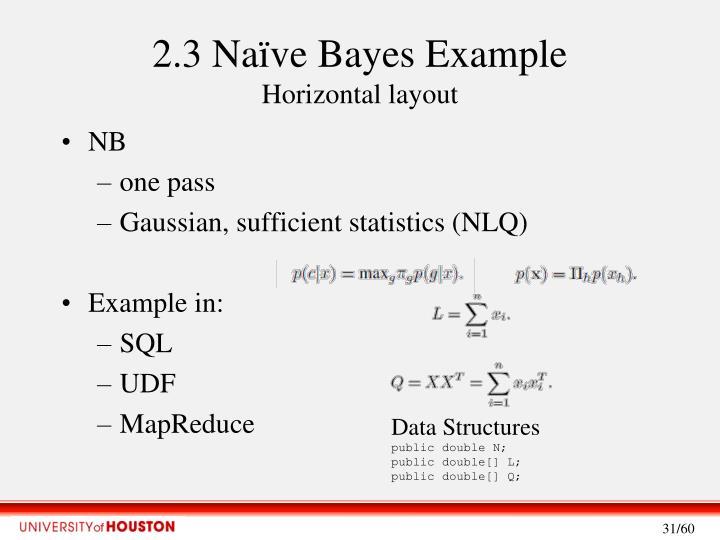 2.3 Naïve Bayes Example