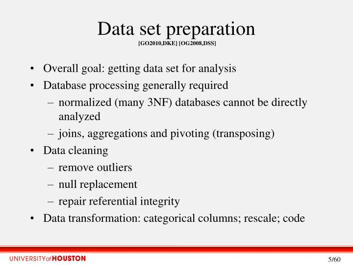 Data set preparation