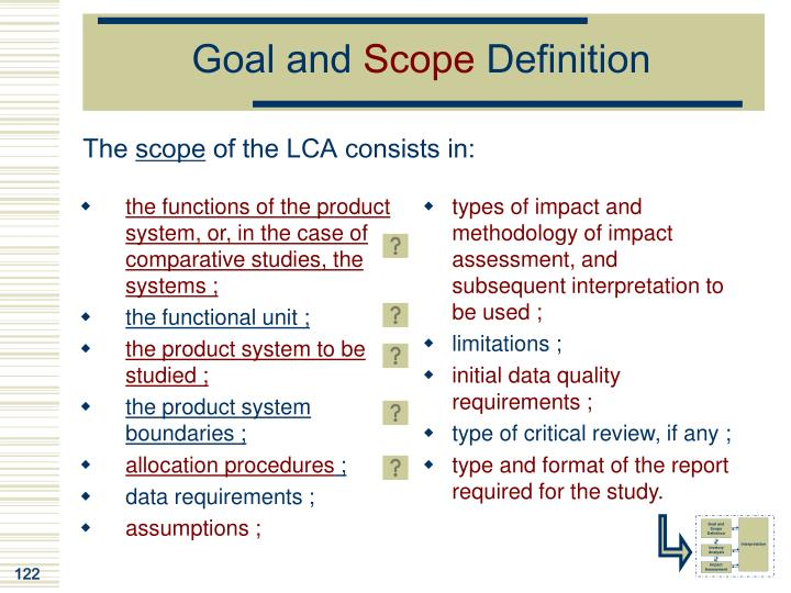 the functions of the product system, or, in the case of comparative studies, the systems ;