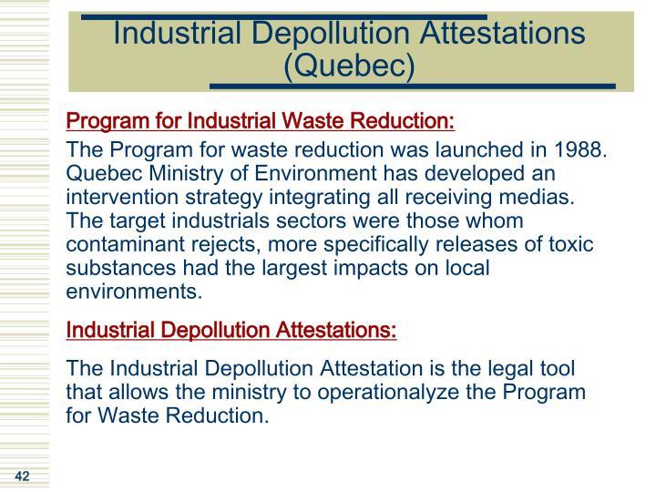 Industrial Depollution Attestations (Quebec)