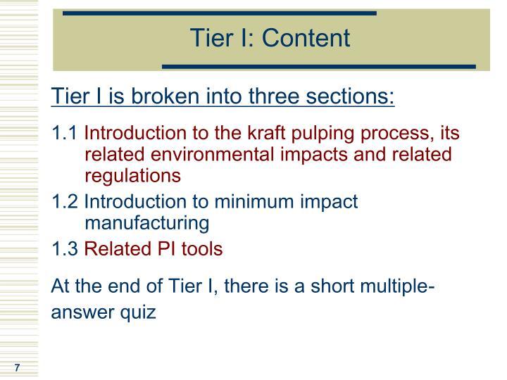 Tier I: Content