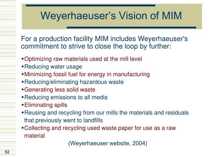 Weyerhaeuser's Vision of MIM