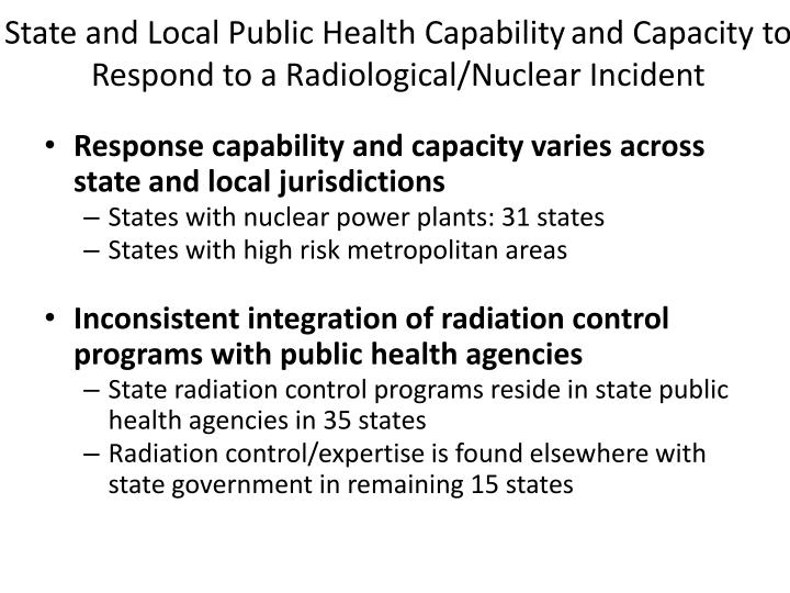 State and Local Public Health Capability