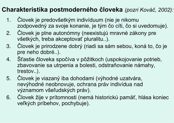 Charakteristika postmoderného človeka