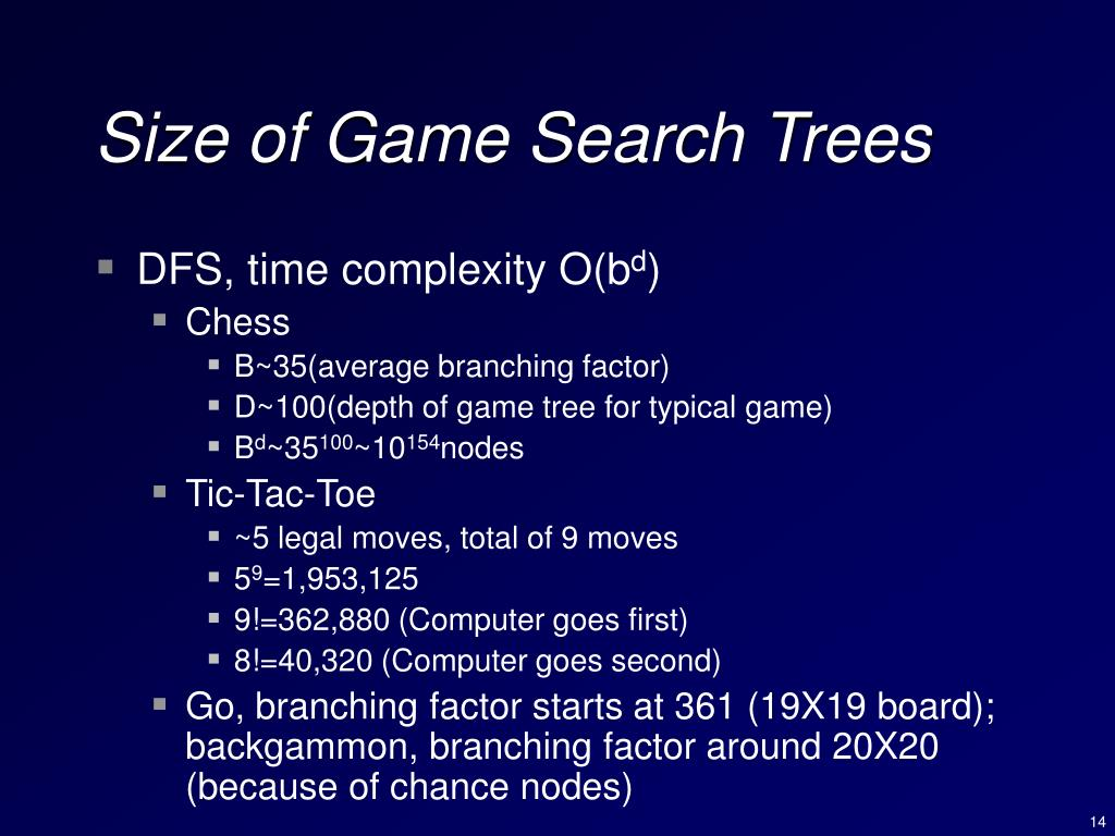 Size of Game Search Trees