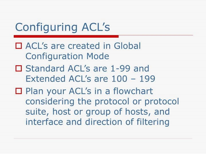 Configuring ACL's