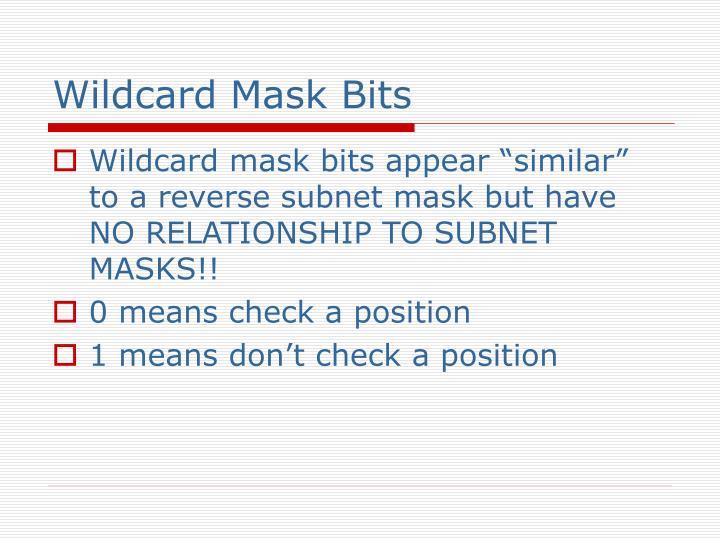 Wildcard Mask Bits