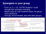 synergism in your group
