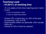 teaching load 10 20 of working time