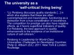 the university as a self critical living being