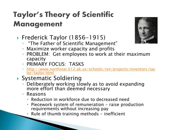 Taylor s theory of scientific management