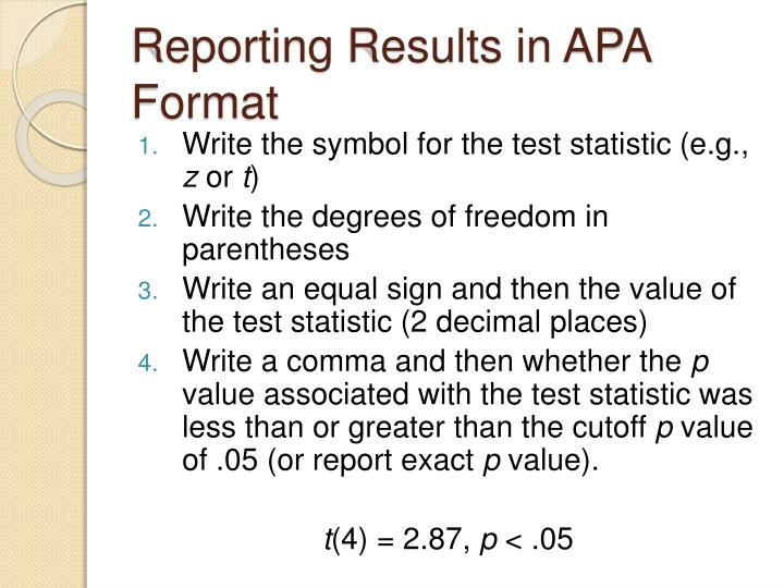 Reporting Results in APA Format