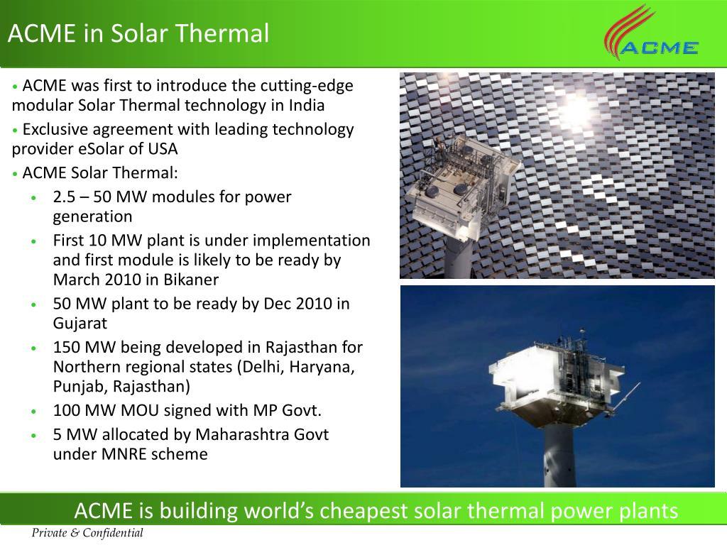 ACME in Solar Thermal