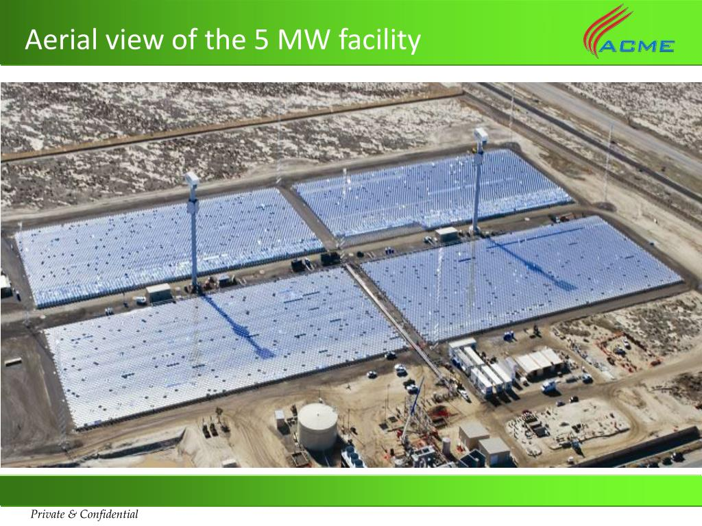 Aerial view of the 5 MW facility