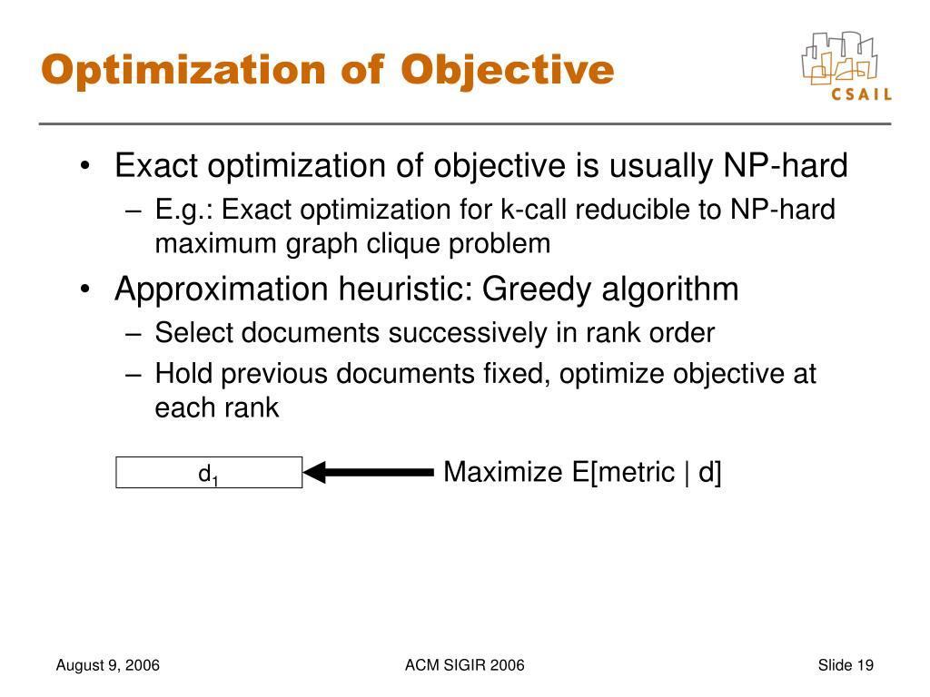 Optimization of Objective