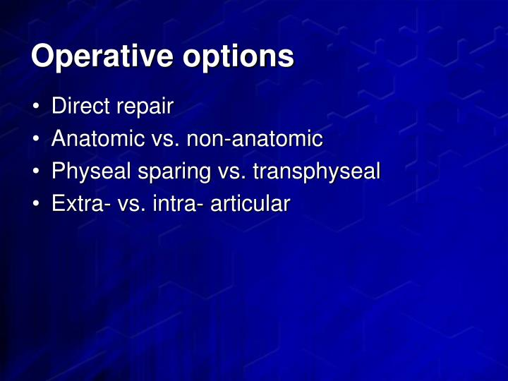Operative options