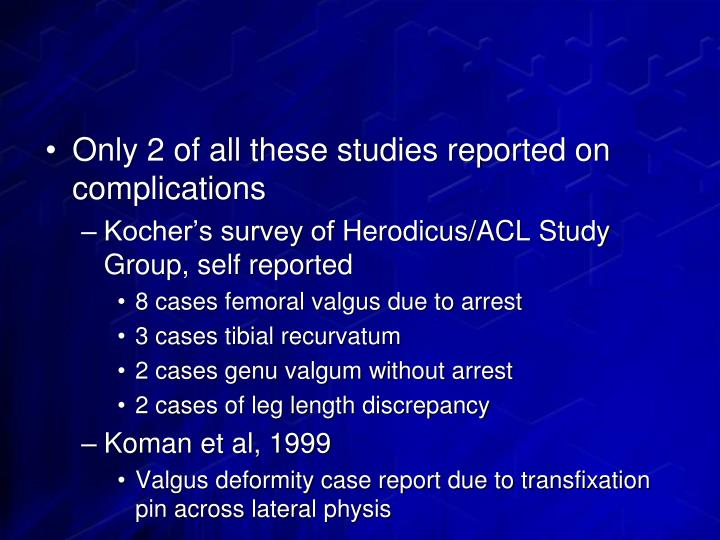 Only 2 of all these studies reported on complications