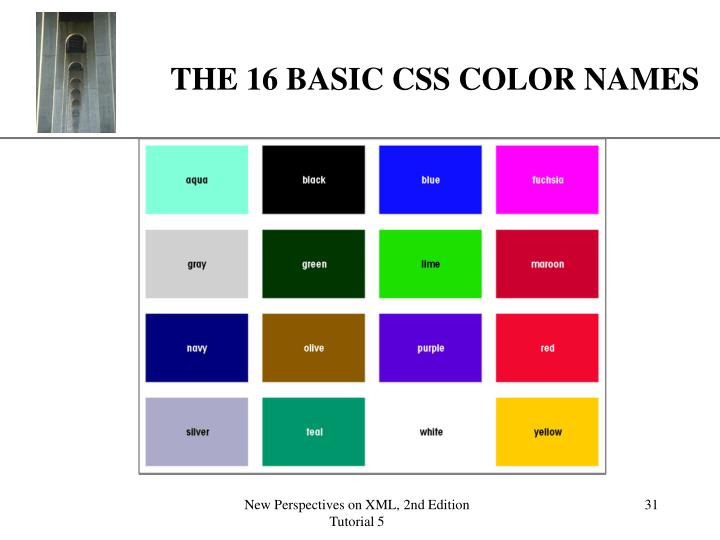 THE 16 BASIC CSS COLOR NAMES