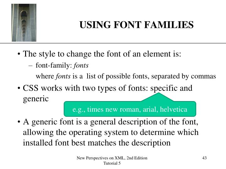 USING FONT FAMILIES