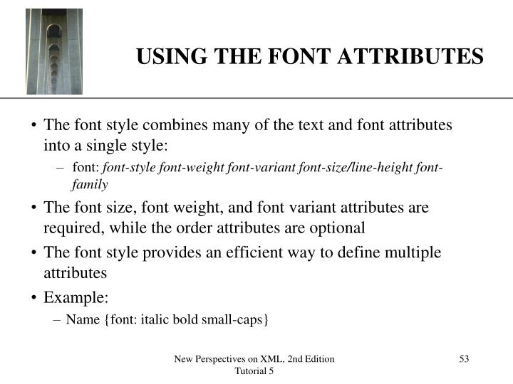USING THE FONT ATTRIBUTES