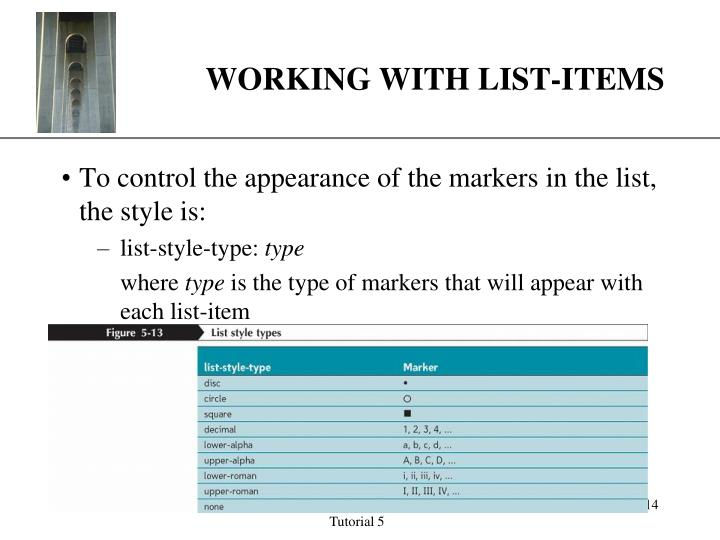 WORKING WITH LIST-ITEMS