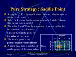 pure strategy saddle point