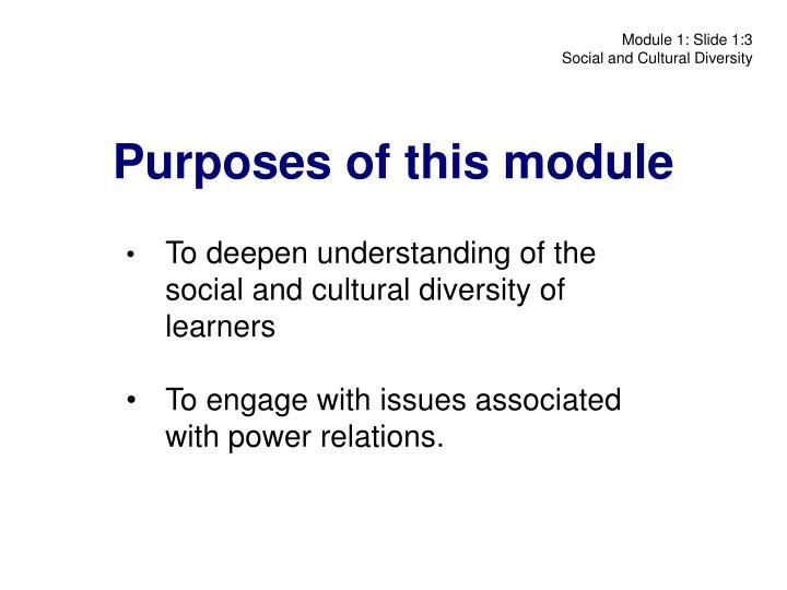 Purposes of this module