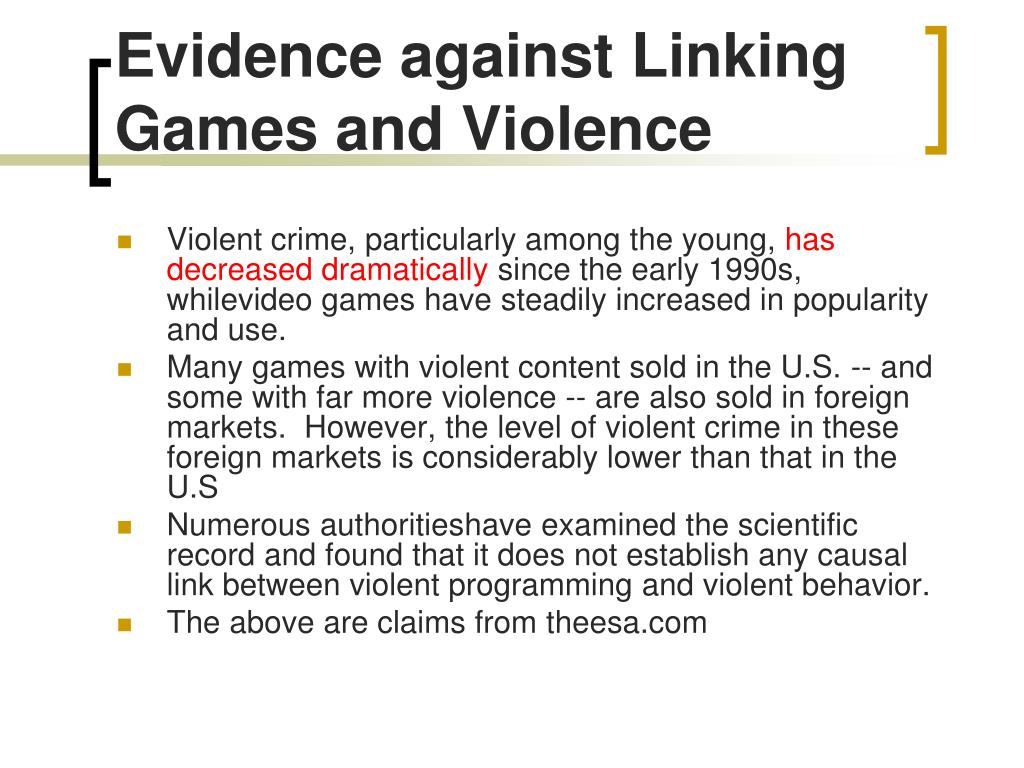 Evidence against Linking Games and Violence