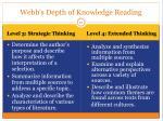 webb s depth of knowledge reading