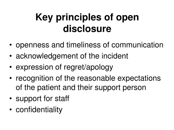 Key principles of open disclosure