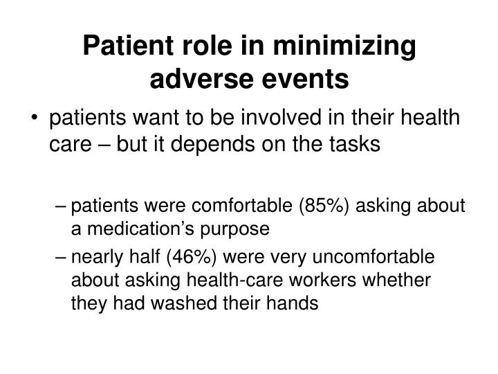 Patient role in minimizing adverse events