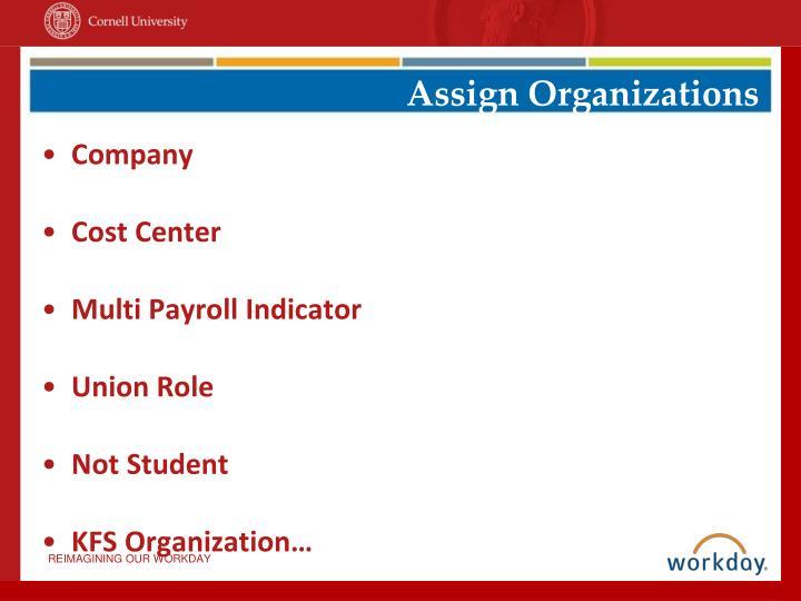 Assign Organizations