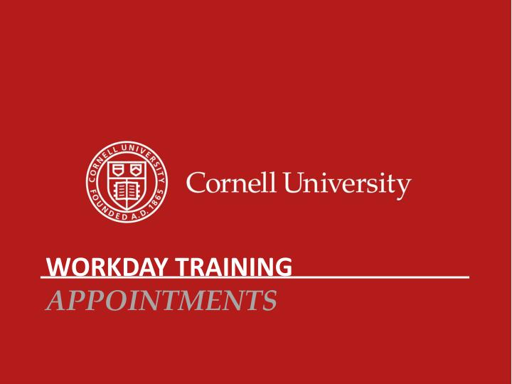 Workday training appointments