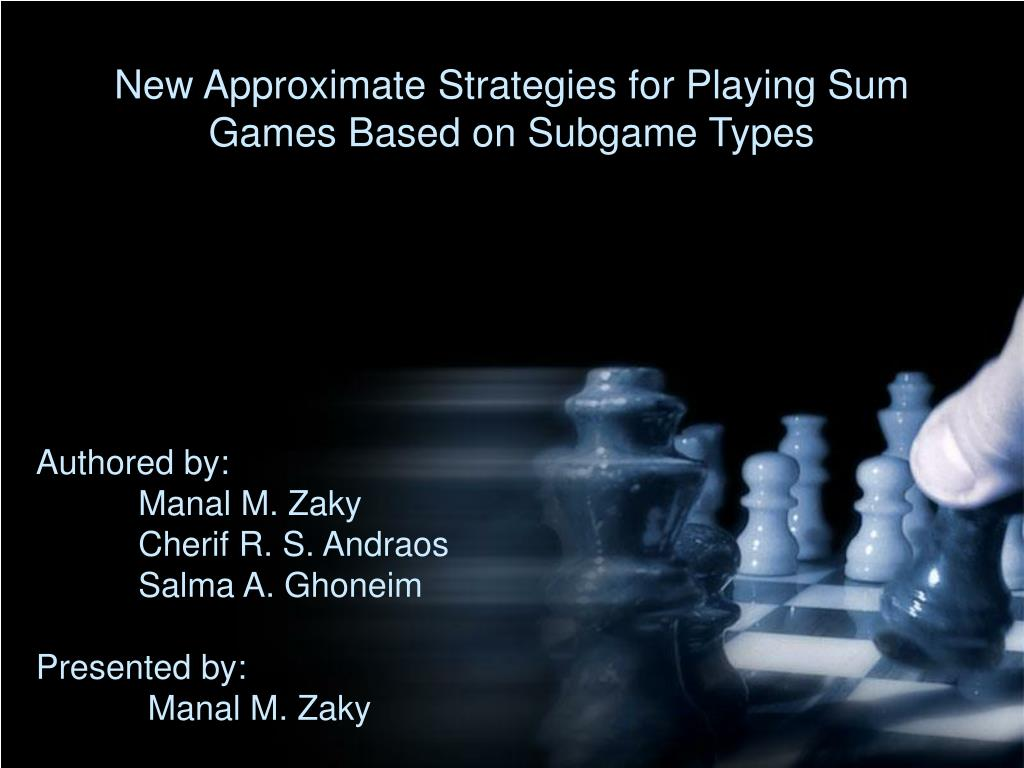 new approximate strategies for playing sum games based on subgame types l.