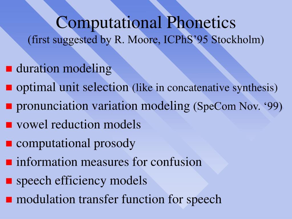 Computational Phonetics