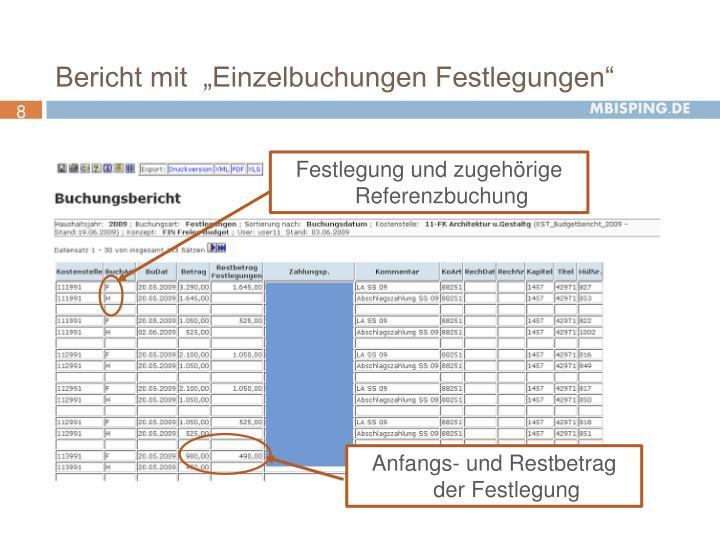 """Bericht mit  """"Einzelbuchungen Festlegungen"""""""
