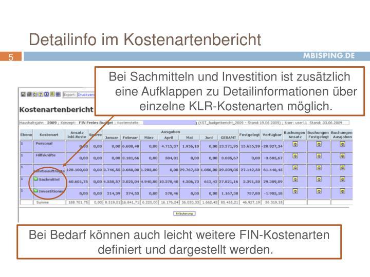 Detailinfo im Kostenartenbericht