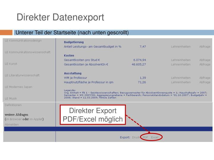 Direkter Datenexport