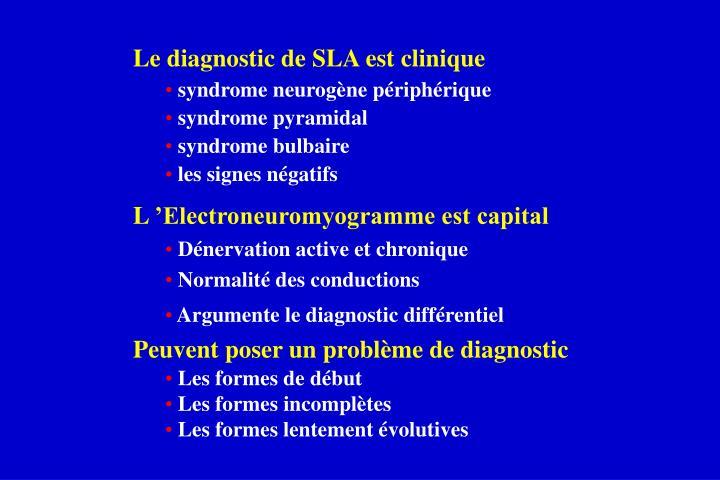 Le diagnostic de SLA est clinique