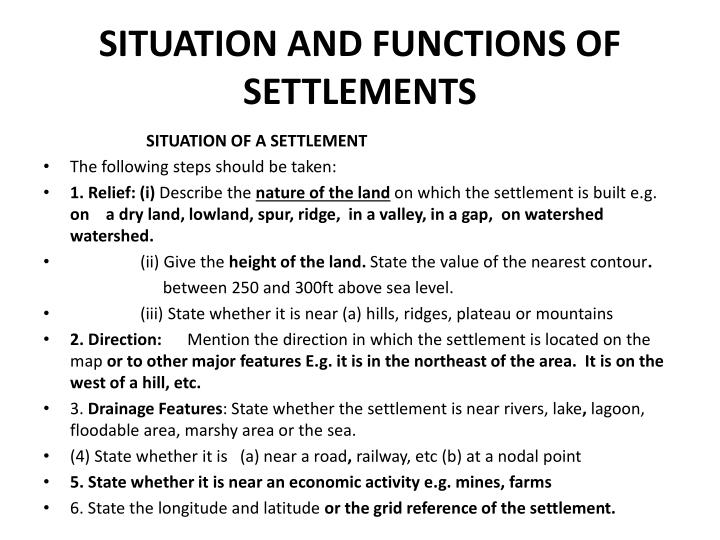 functions of settlements essay Urban & rural settlement geography – improve the living condition of slum and squatter settlements instead of the main functions of the.